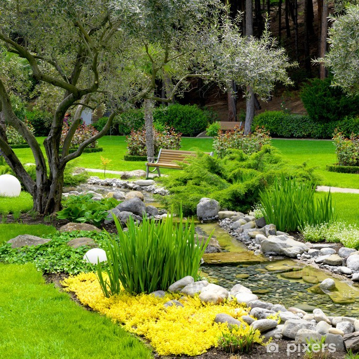 Poster Jardin avec étang dans un style asiatique - iStaging