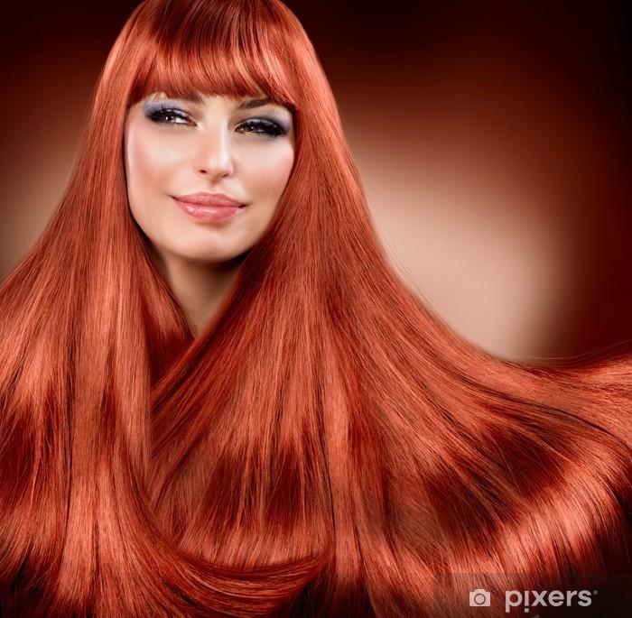 Vinyl Fotobehang Gezonde Straight Rood Haar. Uitbreiding - Vrouwen