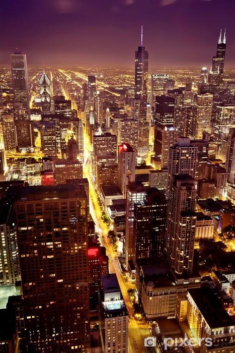 Naklejka Pixerstick Widok z lotu ptaka Chicago Downtown - Tematy