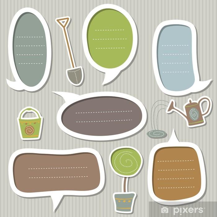 Poster Ensemble de cadres pour le texte décorées par thème du jardin - Maisons et jardins