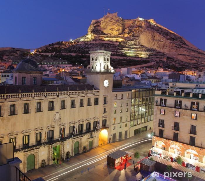 Fototapeta winylowa Alicante Miasto, Plac Ratuszowy i zamek. Hiszpania - Tematy