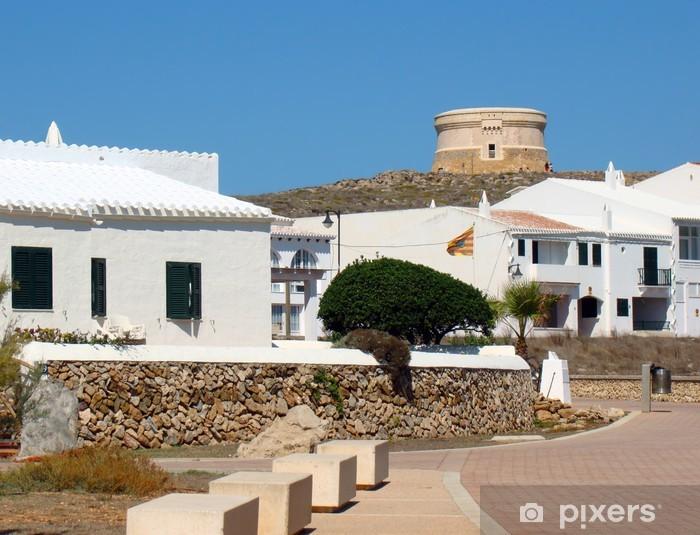 Vinyl-Fototapete Fornells mit dem Martello Tower im Hintergrund, Menorca - Europa