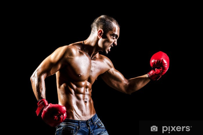 Young man with boxing gloves Pixerstick Sticker - Themes