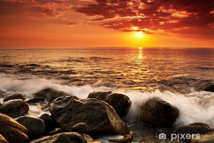 Pixerstick Sticker Zonsondergang boven de zee - Zee en oceaan
