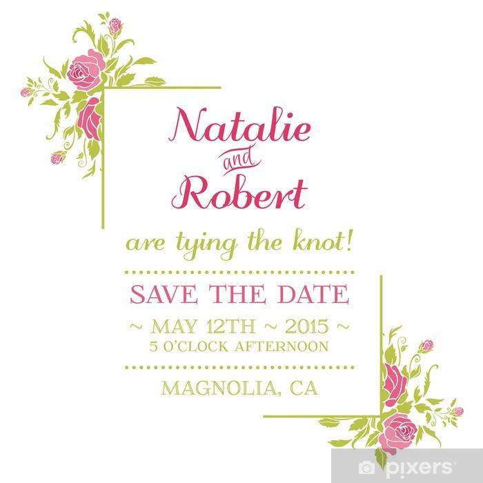 Fototapete Hochzeits Einladungs Karte Blumen Thema In Vektor