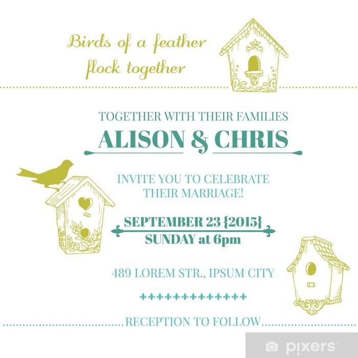 Papier peint vinyle Carte d'invitation de mariage de cru - dans le vecteur - Célébrations
