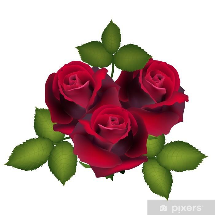 Adesivo Cartolina Da Rose Rosse Fiore Immagine Vettoriale Per Il
