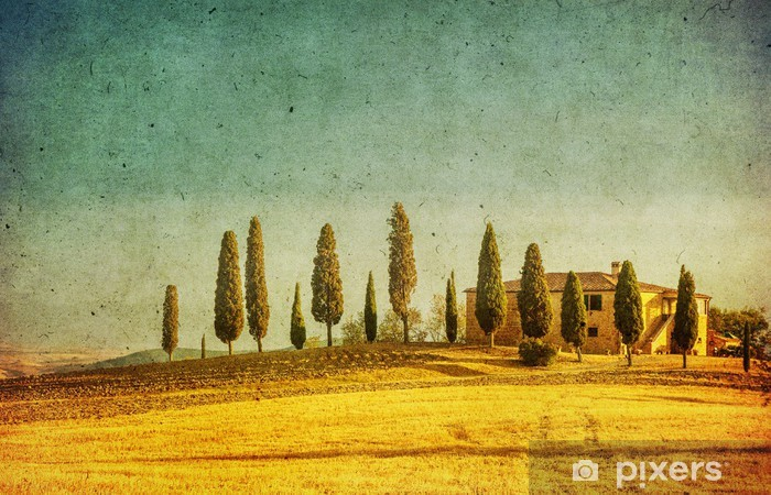 Pixerstick Sticker Vintage Toscaanse landschap - Thema's