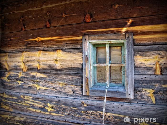 Sticker Pixerstick Fenêtre en bois rustique Détail Bard - Propriétés privées