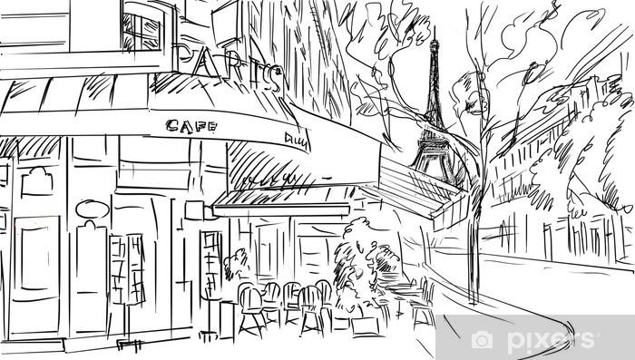 Fototapeta winylowa Ulicy w Paryżu -sketch ilustracji - Tematy