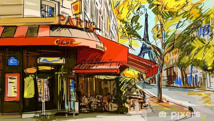 Naklejka Pixerstick Ulica w Paryżu - ilustracja - Tematy