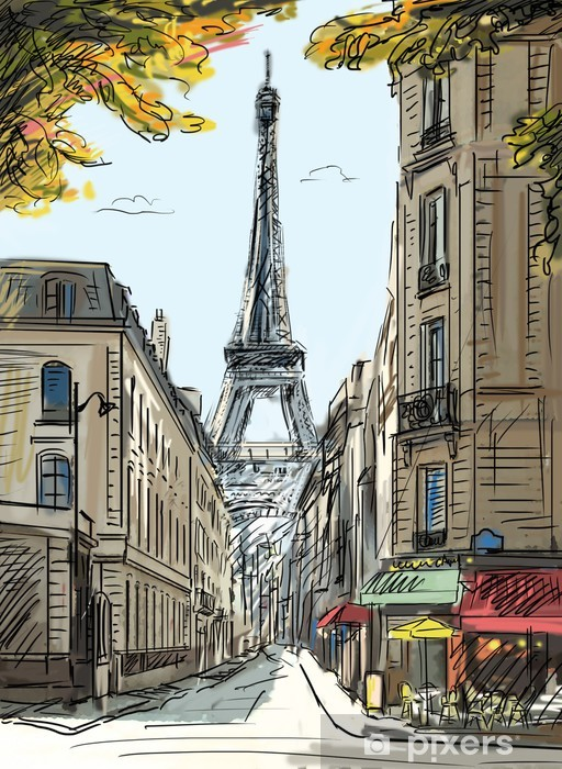 Street in paris - illustration Pixerstick Sticker - Themes