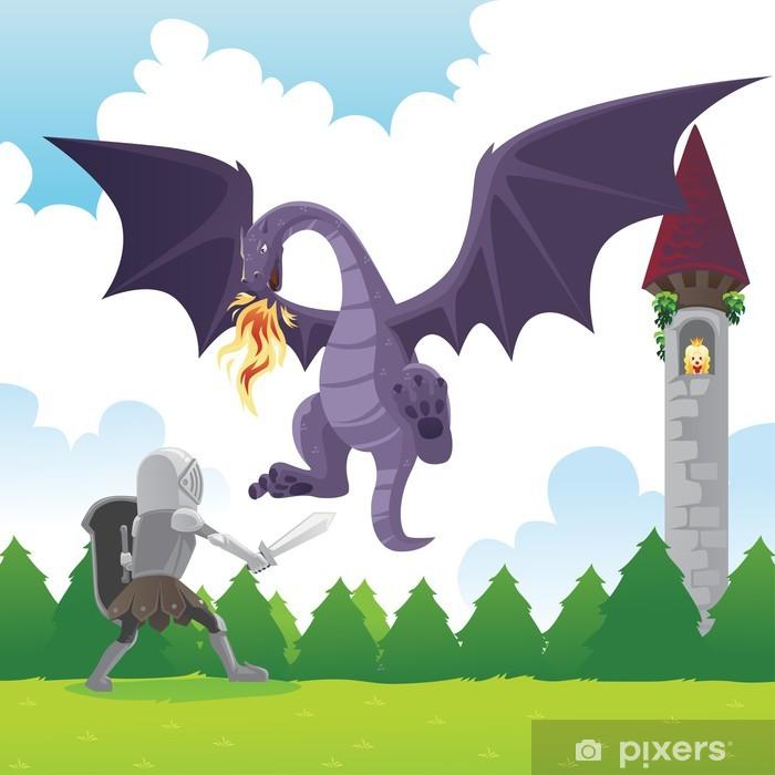 Papier peint vinyle Chevalier dragon, combat - Destin