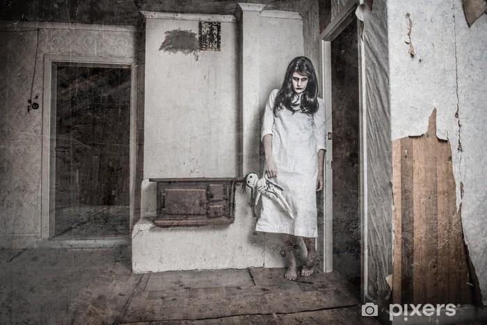 Adesivo Pixerstick Una ragazza fantasma spaventoso - Temi