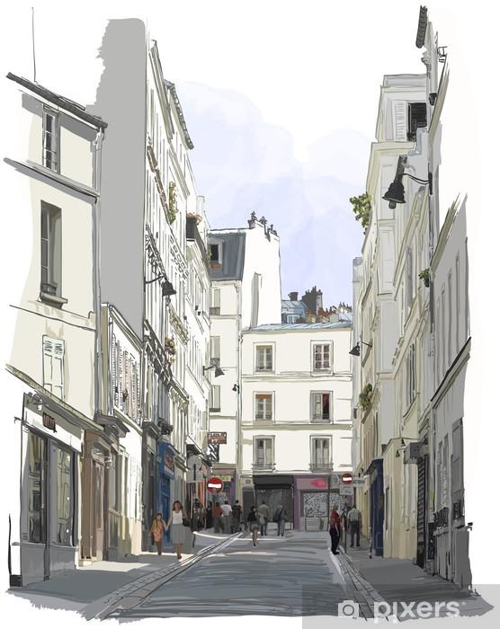 Pixerstick Sticker Straat in de buurt van Montmartre in Parijs - Gebouwen en Architectuur