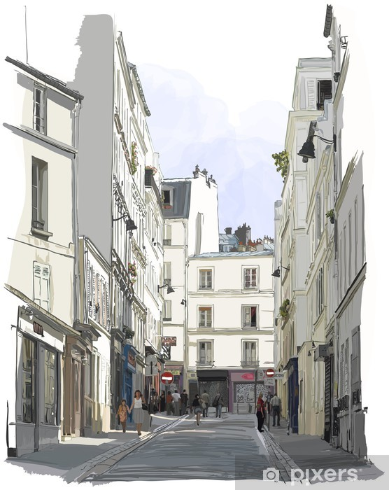 street near Montmartre in Paris Vinyl Wall Mural - Buildings and Architecture