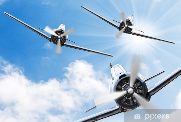 The Fighters - old propeller planes. Retro technology theme. Vinyl Wall Mural - Themes