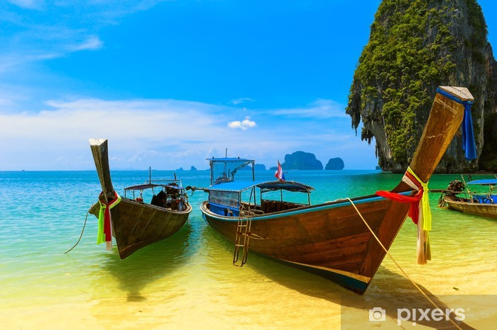Fotomural Estándar Tailandia Barcos de madera tradicionales. Paisaje del mar - iStaging