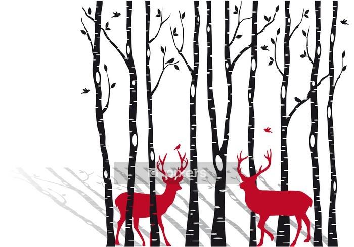 Sticker mural Bouleaux avec Noël cerfs, vecteur -
