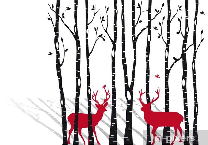 Pixerstick Sticker Berken bomen met Kerst herten, vector -