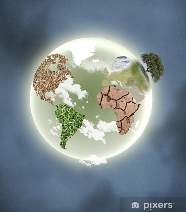 Naklejka Pixerstick Planeta z kontynentami - Przestrzeń kosmiczna