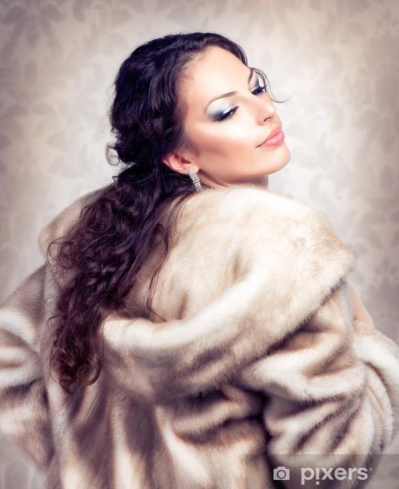online store 1f82f 37c1d Carta da Parati in Vinile Moda Bella donna in pelliccia di visone pelliccia  di lusso