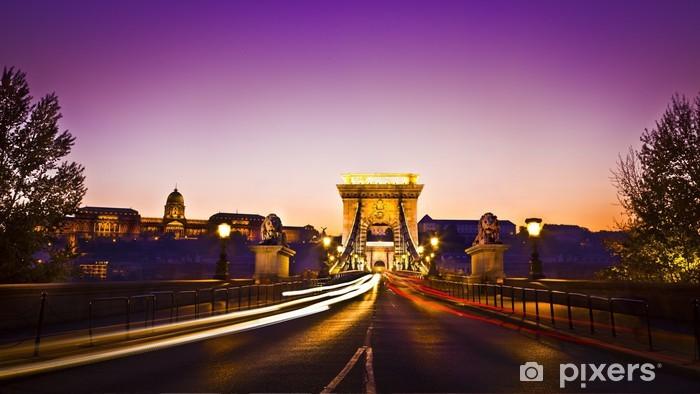Naklejka Pixerstick Most Łańcuchowy na Dunaju w nocy w Budapeszcie, - Europa