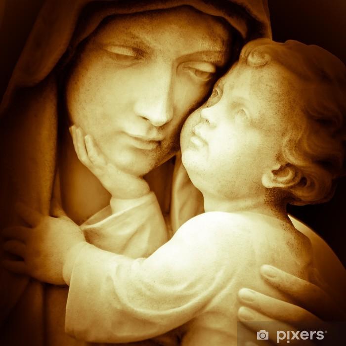 Pixerstick Sticker Vintage beeld van de maagd Maria dragende baby Jezus - Thema's