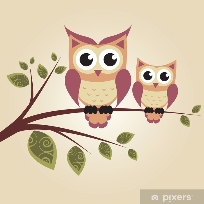 Two owls on the tree Vinyl Wall Mural - Themes