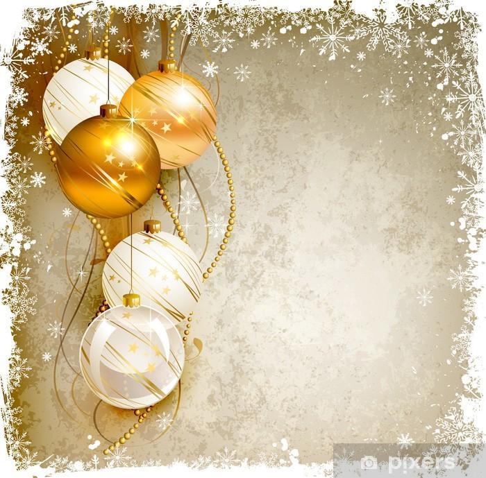 Sfondi Natalizi Oro.Adesivo Elegante Sfondo Natale Con Palline Da Sera Oro E Bianco Pixerstick