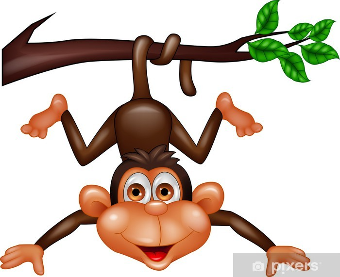 Funny monkey hanging on tree branch Lack Table Veneer - Wall decals