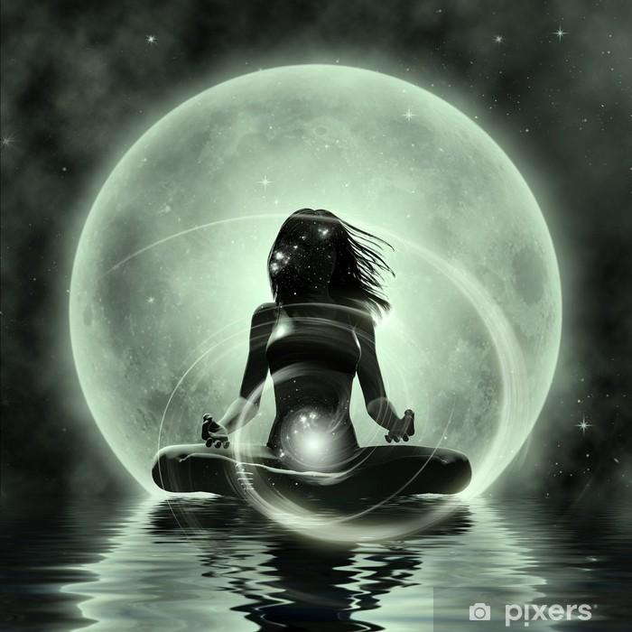 Adesivo Pixerstick Yoga Magic - Moonlight Meditazione - Spazio da decorare