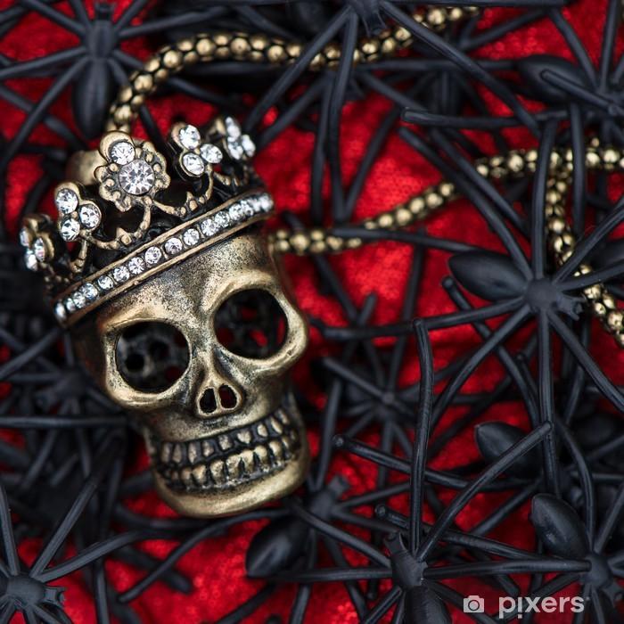 Fototapeta winylowa Czarny pająk i chrząszcz z czaszki na czerwonym - Święta międzynarodowe