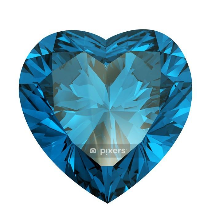 Heart shaped Diamond isolated. aquamarine Wall Decal - Fashion