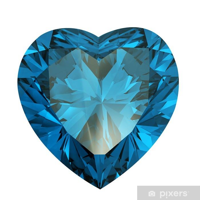 b81ec14805ae43 Fototapeta winylowa Diament w kształcie serca na białym tle. akwamaryn -  Moda