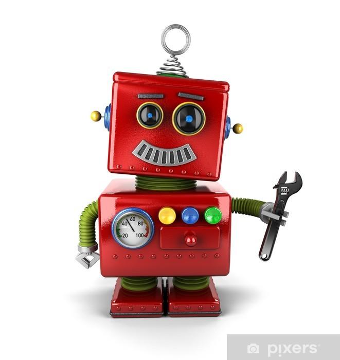 Fototapeta winylowa Robot Toy mechanik z kluczem nad białym - Przeznaczenia