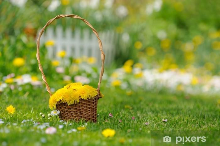Nálepka Pixerstick Košík žluté pampeliška květiny v zahradě - Roční období
