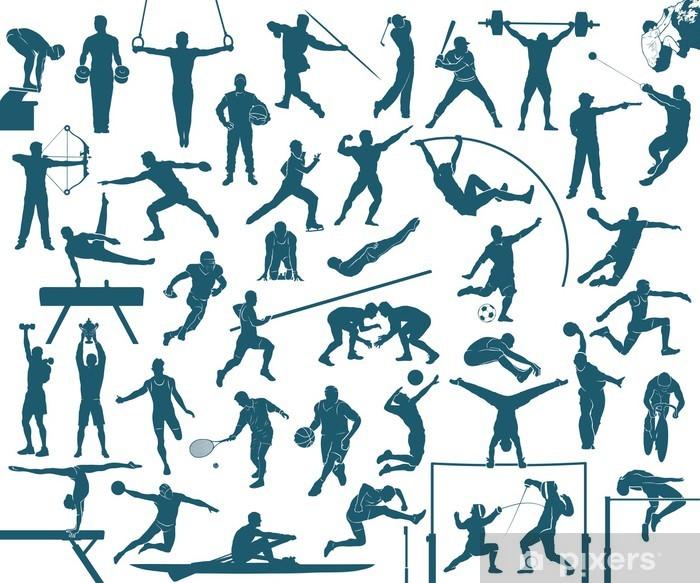 Vindu- og glassklistremerke Idretts silhuetter sett - sport vektor illustrasjon - Individuelle Idretter