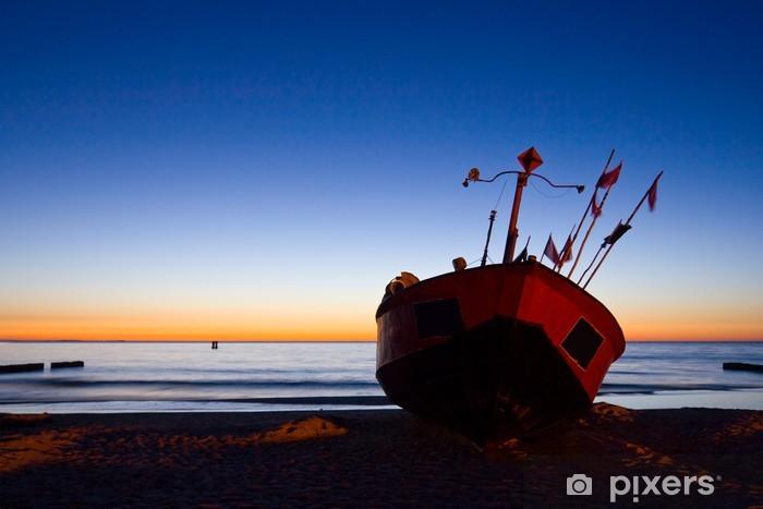Vinyl-Fototapete Fisherman Boot mit Sonnenuntergang Himmel Umwelt - Europa