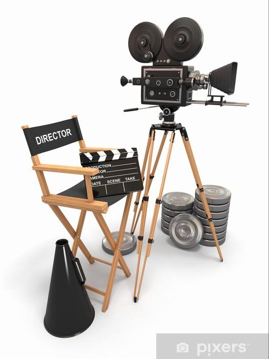 Fototapeta winylowa Kompozycja filmu. Vintage kamery, krzesło reżysera i kołowrotki. - Tematy