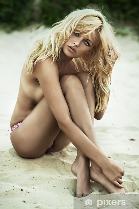 Sensual woman posing on the beach Pixerstick Sticker - Women