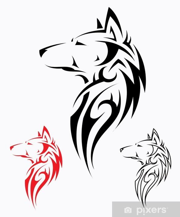 Tribal Wolf Tattoo Vector Illustration Sticker Pixerstick