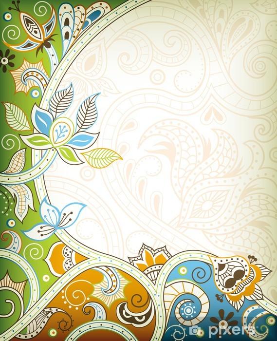 Adesivo Pixerstick Abstract Floral Background - Sfondi