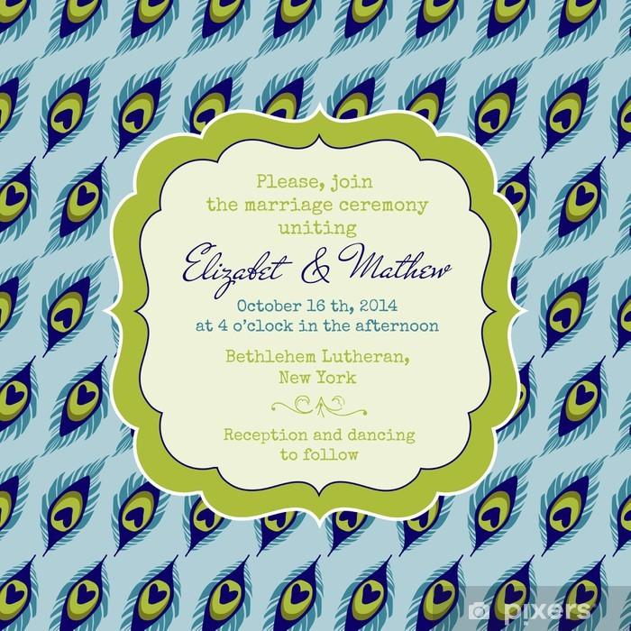 Plakat Vintage Wedding Invitation card - Theme Peacock - w wektorze - Świętowanie