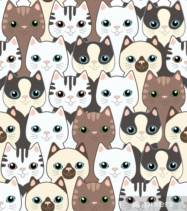 Funny Cartoon Cats Seamless Pattern Wall Mural Pixers We Live