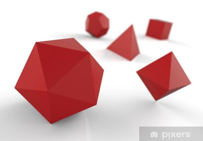 Naklejka Pixerstick Stałe platońskie w 3D - czerwony Precious - Dom i ogród