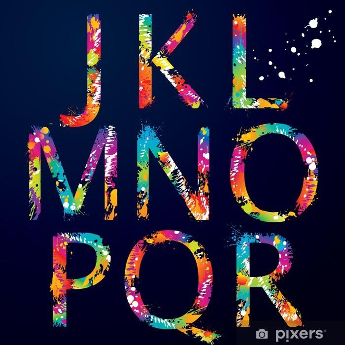 Plakat Font - Kolorowe litery z kroplami i rozbryzgami od J do R - Tematy