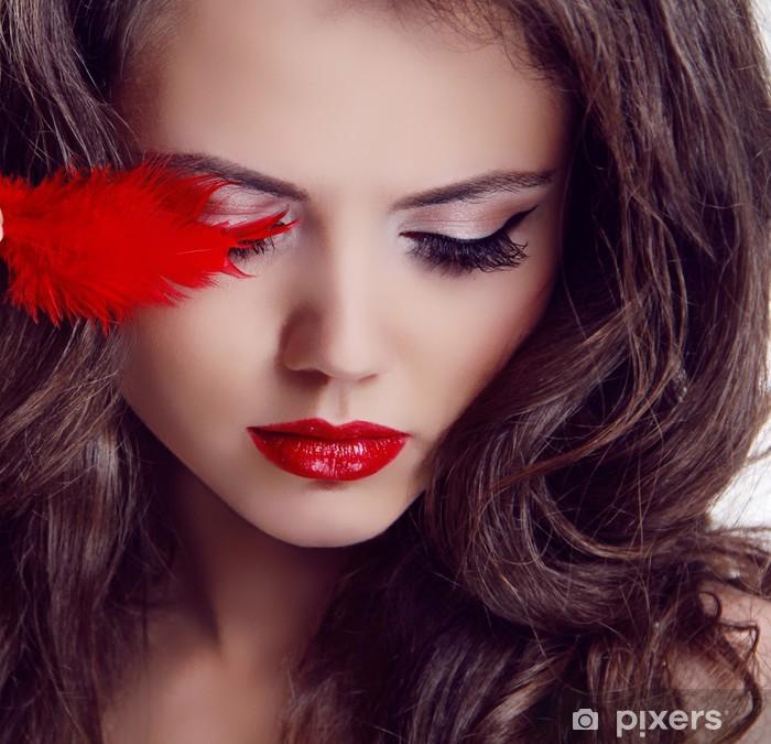 Plakat Kobieta Portret Fashion Beauty. Red Lips - Kobiety