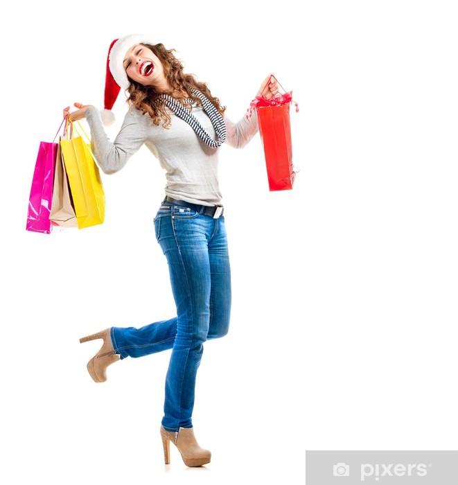 Vinylová fototapeta Dívka s nákupní tašky. Vánoční nákupy. Odbyt - Vinylová fototapeta