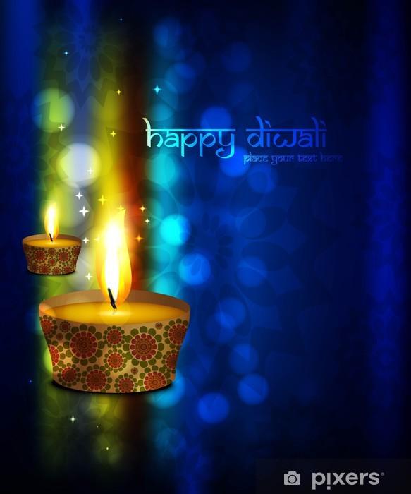beautiful happy diwali greeting card blue colorful vector